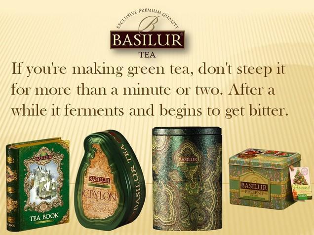 Pokud si připravujete zelený čaj, neluhujte déle jak minutu či dvě. Po delší době čaj kvasí a žačne být hořký.